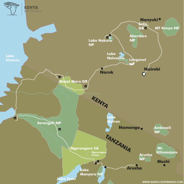 Kenya & Tanzania - East Africa's Great National Parks map